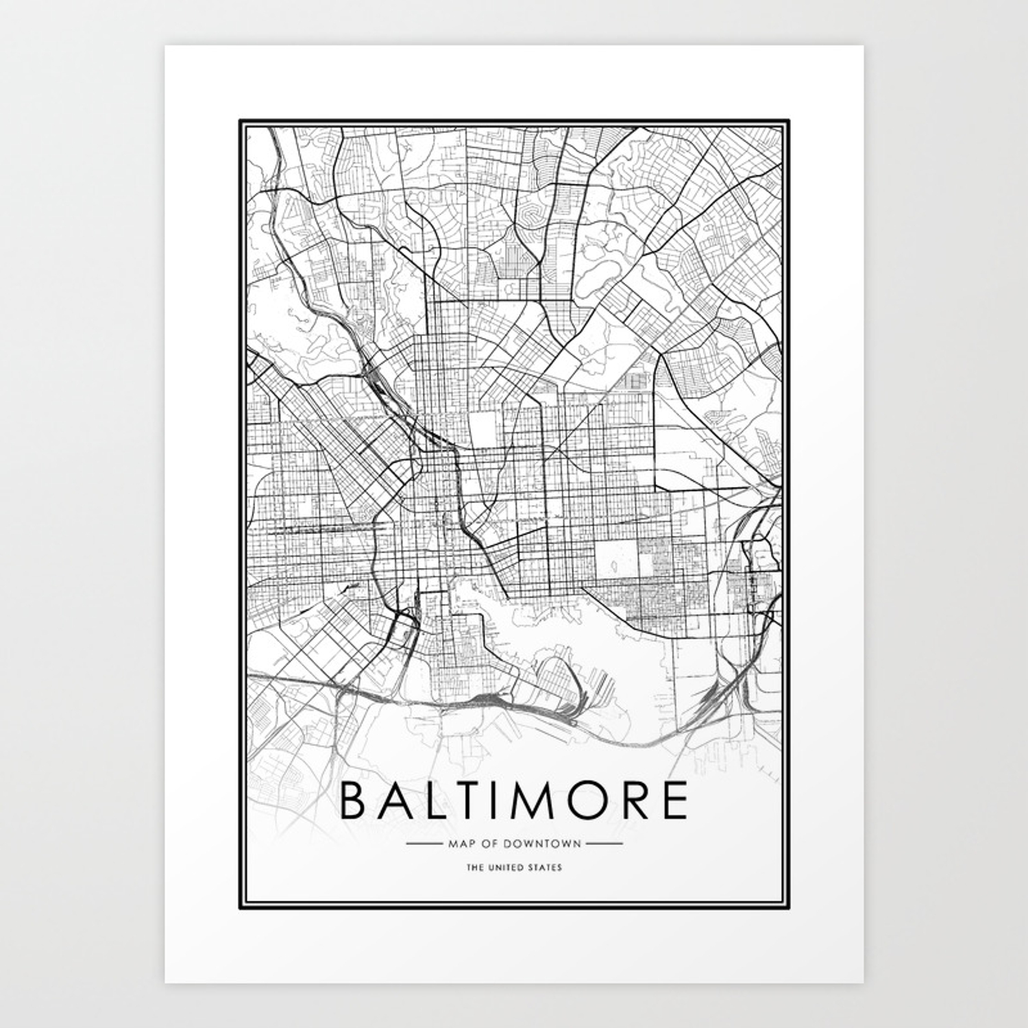 Baltimore City Map United States White and Black Art Print