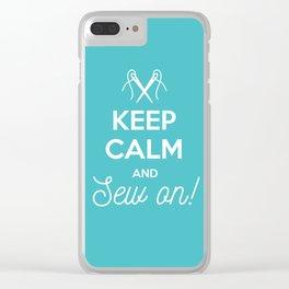 Keep calm an sew on! Clear iPhone Case