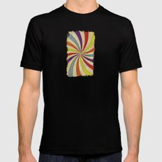 Colorful Twirl MEDIUM Black Mens Fitted Tee