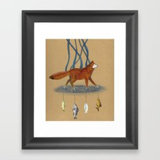 Fox and Fish Framed Art Print