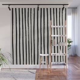Vertical Black and White Watercolor Stripes Wall Mural