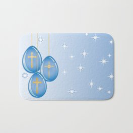 Shiny blue hanging eggs decorated with gold crosses Bath Mat