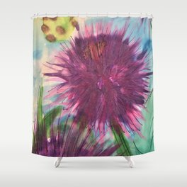 Purple Thistle Growing Shower Curtain