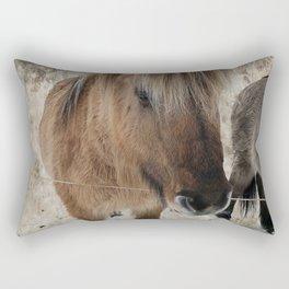 snowy Icelandic horse Rectangular Pillow