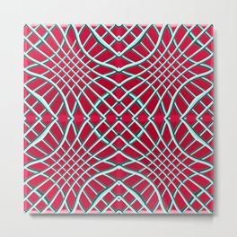 Red Grids and Grooves Metal Print