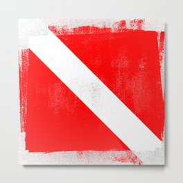 Diver Down Distressed Halftone Denim Flag Metal Print