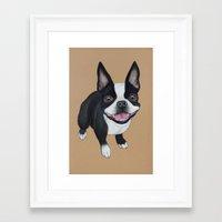 boston terrier Framed Art Prints featuring Boston Terrier by PaperTigress