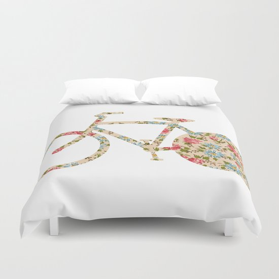 Whimsical cute girly floral retro bicycle Duvet Cover