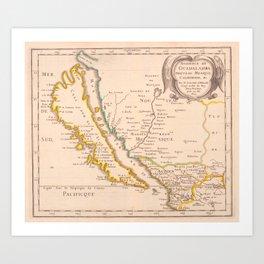 Vintage Map of California (1657) Art Print