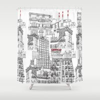 buildings Shower Curtains featuring Ny buildings by dezignation
