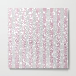 Elegant pink white faux glitter stripes pattern  Metal Print