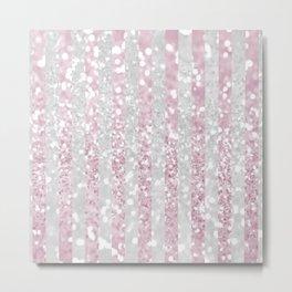 Elegant pink white faux glitter stripes pattern  Metal Print