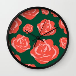 Dusty Rosy Roses and Pinks on Green Wall Clock