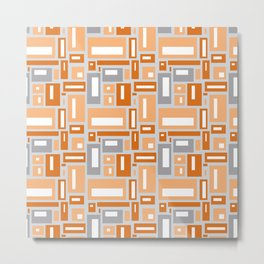 Simple Geometric Pattern in Peach and Gray Metal Print