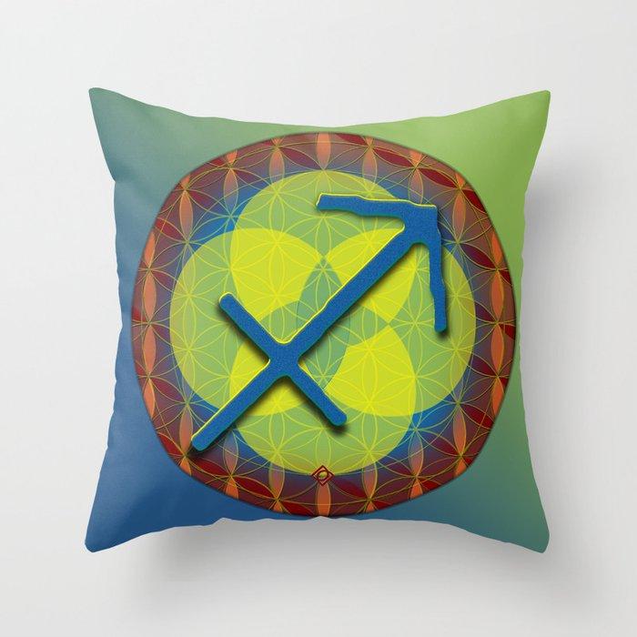 Flower of Life SAGITTARIUS Astrology Design Throw Pillow
