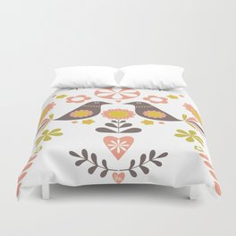 Scandinavian Folk Bird Print  Duvet Cover