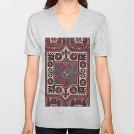 Cartouche Star // 19th Century Colorful Red Blue Western Santa Fe Cowboy Style Ornate Accent Pattern Unisex V-Neck