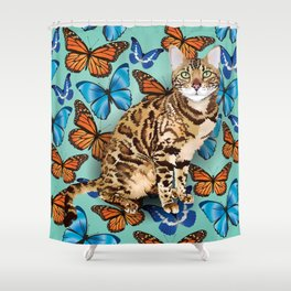 layla butterflies Shower Curtain
