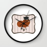 guinea pig Wall Clocks featuring Mr Guinea Pig by Jo Sharp
