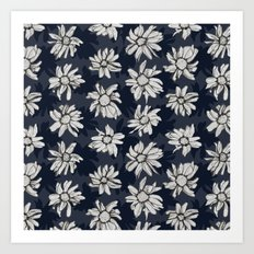Black and Blue Flowers Art Print