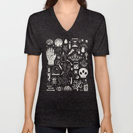 Curiosities: Bone Black Unisex V-Neck