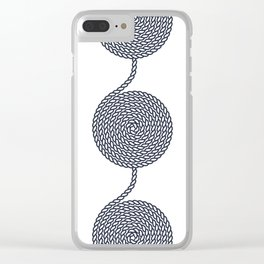 Yacht style. Rope spirals. Blue & white. Clear iPhone Case