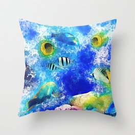 Tropical fish coral reef vibrant watercolor Throw Pillow