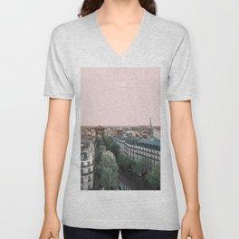 Paris Skyline, France Travel Artwork Unisex V-Neck