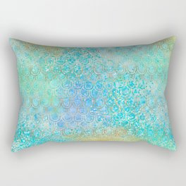 Gold Aqua Mermaid Rectangular Pillow