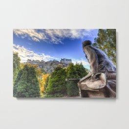 Scots American Memorial And Edinburgh Castle Metal Print