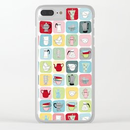 Retro Coffee Pots and Cups Pattern Clear iPhone Case