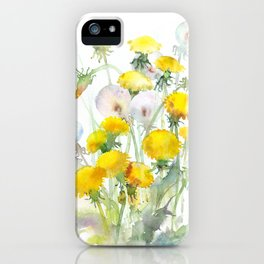 Watercolor yellow flowers dandelions iPhone Case