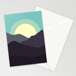 Minimal Mountain Night Stationery Cards
