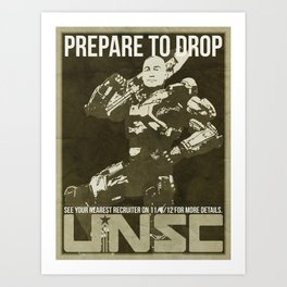Halo 4 UNSC Old Fashioned Recruitment Poster Art Print