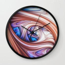Blueberry Caramel. Abstract Swirl Wall Clock
