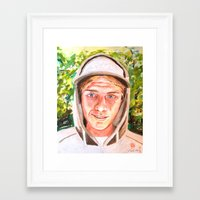 ashton irwin Framed Art Prints featuring Ashton by Peter Bridgstock