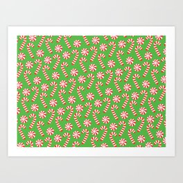 candy canes and peppermints Art Print
