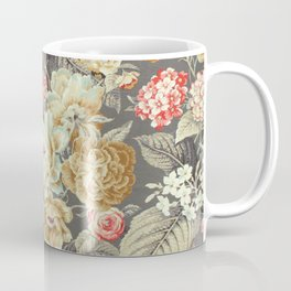 Gray Gold White Rose Pattern Coffee Mug