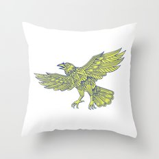 Common Raven Flying Mandala Throw Pillow