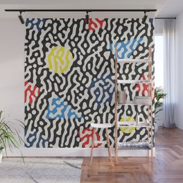 Retro Jumble Black and White Drips And Color Polygons Pattern Abstract Seamless Background Wall Mural