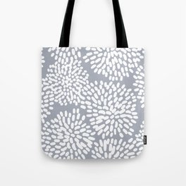 Grey and White Abstract Firework Flowers Tote Bag