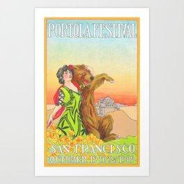 Lady cuddling a Bear at the Portola Festival of 1913  in San Francisco Art Print