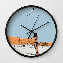 Flying a Kite at the Beach Wall Clock