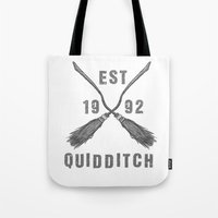 quidditch Tote Bags featuring Varsity Quidditch by Makar Deku
