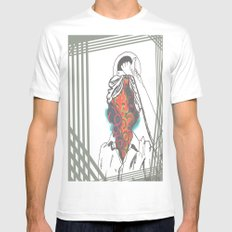 Just an Illusion White Mens Fitted Tee LARGE
