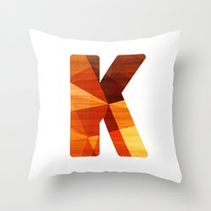 Letter K - Wood Initial  Throw Pillow