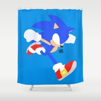 sonic Shower Curtains featuring Sonic(Smash) by samaran