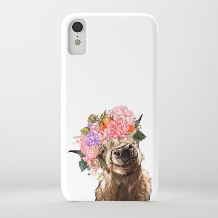 highland cow with flower crown iphone case