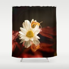 Baby Snail on a flower in the water  Shower Curtain