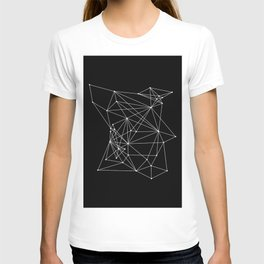 Black Geometric Dots and Lines T-shirt